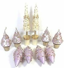 Christmas Ornaments Lavender And Gold 10 Pc Miscellaneous