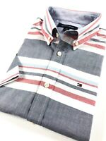 TOMMY HILFIGER Shirt Men's Short Sleeve Chambray Red/ Blue Stripe Custom Fit