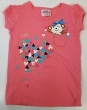 Beautees Girls T-Shirt Coral S/S Monkey Hearts Glitter XOXO Graphic Tee Size 2T