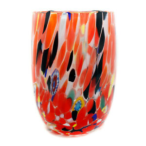 Murano Glass Drinking Art Glass Tumbler Red Multi Coloured Hand Made Millefiori