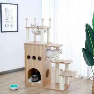 Wooden Modern Cat Tower Cat's Activity Cat Furniture with Removable and Washable