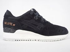 Asics Gel Lyte III H624L 9090 Black Lace Up Leather Casual Trainers