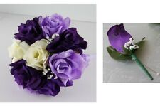 2pc set:Bridal Silk flower Toss bouquet &boutonnieres;purple,IVORY,lavender