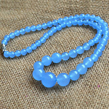 "Gemstone Beads Choker Candy Jade Aa 17 ""Necklace 6-14mm Blue Jade Necklace Round"