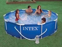 "Intex 10' x 30"" Metal Frame Round Above Ground Swimming Pool Set w/ Filter Pump"