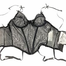 Escante Collection Bustier with Garters & Stockings Size Medium Black Lace NWT