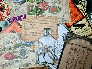 50 Vintage Book of Shadow Witch Wicca  Ephemera Halloween Gift Scrapbook kits