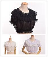 Lolita Girls Lace Crop Top Women Midriff Blouse Chiffon Shirt Cover-Up 3 Colors