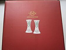 LENOX Christmas HOLIDAY Pattern Pierced Candlesticks New in Box