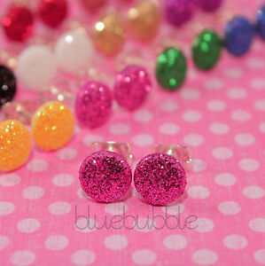 FUNKY SMALL MINI ROUND GLITTER STUD EARRINGS CUTE 80S DISCO SPARKLE GIRLS STYLE