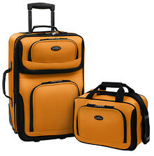 US Traveler Orange Rio 2-Piece Carry-on Lightweight Rolling Luggage Tote Bag Set