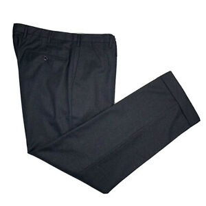 Mint ! Incotex 34 x 29.5 Flannel Weight Charcoal Grey Flat Front Super 130's
