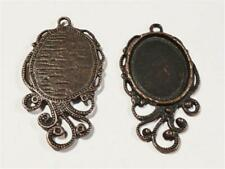 P988...PACK OF 6 ANTIQUED COPPER PENDANTS WITH A CABOCHON SETTING