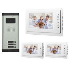 Apartment Wired 7'' Video Door Phone Audio Visual Intercom Entry System 3 Units