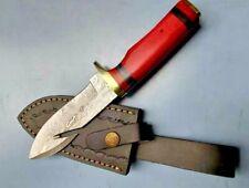 MH KNIVES CUSTOM HANDMADE DAMASCUS STEEL GUT HOOK HUNTING/SKINNER KNIFE 303J