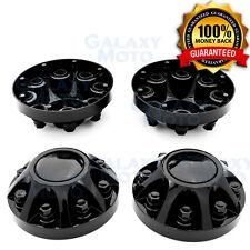 """08-10 Chevy Silverado DUALLY Gloss Black 17"""" 2x Front Wheel Center Hub Cap Cover"""