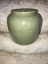Antique Vintage Chinese Brown Glazed Pottery Ginger Jar Pot Inscription Rare