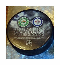 MINNESOTA WILD HOCKEY VS WINNIPEG JETS 1ST GAME RIVALRY HOCKEY PUCK 2011-2012