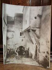 ancienne grande photo ville du maghreb ruelle animee orientaliste