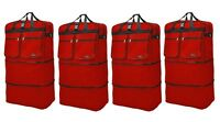 """4-Pack 40"""" Red  Expandable Rolling Wheeled Duffle Bag Spinner Suitcase Luggage"""