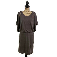 Robert Rodriguez Womens 4 Brown Linen Dress Black Pleated Back Keyhole Shoulder
