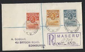 BASUTOLAND 1936 REGISTERED COVERS TO EDINBURGH with 1933 SHORT SET TO 1/-