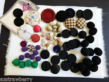 Lot of 76 Antique Old Vintage Cloth Covered Buttons Fabric Cloth multi-color