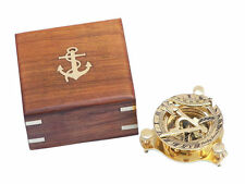 "Brass Sundial compass 3"" Nautical Gift with wooden box USA Seller!!!"