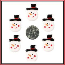 6 PC  CHRISTMAS SNOWMEN SNOWMAN W/ BLACK HAT FLATBACK FLAT BACK RESINS