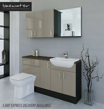 METALLIC LATTE / HACIENDA BLACK BATHROOM FITTED FURNITURE 1500MM WITH WALL