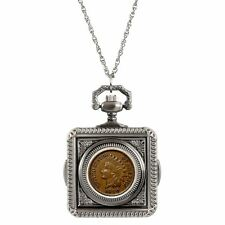 NEW 1800's Indian Penny Coin Pocket Watch Coin Pendant Necklace 14199