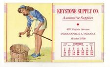 1949 Keystone Automotive Supply Ink Blotter (Indian Summer Pin-Up Girl)