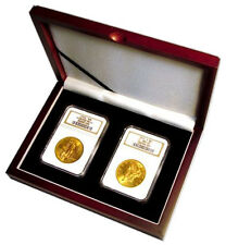 New Mahogany Style Coin Box Graded Gift Case 2 Certified Slabs US Gold / Silver