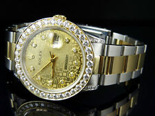 Mens Rolex Datejust 2 Tone 18k Gold 36MM Steel Oyster Band Diamond Watch 6.25 CT