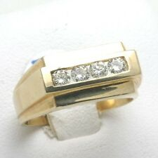 14k DIAMOND MENS Ring band Yellow Gold 3/4 carat round channel set NEW