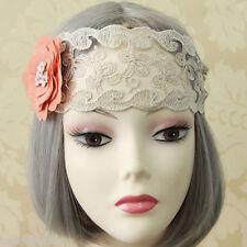 "Womens 2.8"" Width Crystal Flower Filigree Lace Elastic Hair Band Headband Boho"