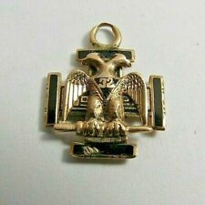 ANTIQUE FRATERNAL 32 DEGREE MASONIC 10K SOLID ROSE GOLD ENAMEL EAGLE PIN FOB