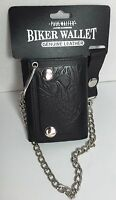 BRAND NEW BIKER WALLET GENUINE LEATHER SUPERIOR QUALITY EAGLE EMBOSSED