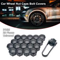 20X 21mm Black CAR WHEEL NUT BOLT COVERS CAPS UNIVERSAL FOR BMW VW Audi Polo