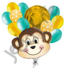 12 pc Mischevious Monkey Balloon Bouquet Party Decoration Baby Boy Birthday Aqua
