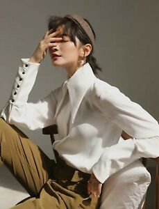 Ivory White Large Victorian Dagger Collar Designer Luxury Chic Blouse Shirt 10