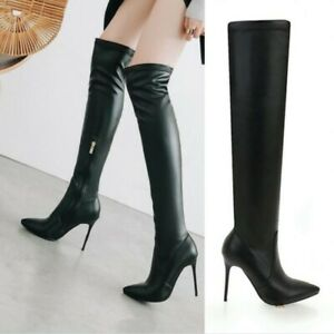 Women Stiletto High Heel Side Zip Pointy Toe Over Knee Thigh High Boots Shoes US
