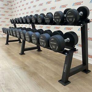 Premium Rubber Dumbbell Set 2.5kg - 30kg with Rack by Blitz Fitness