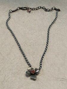 Sabika Flower Necklace Pink Crystal