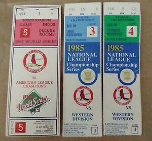 LOT (3) ST. LOUIS CARDINALS TIX-  LEAGUE CHAMPIONSHIP & WORLD SERIES 1987 & 1985