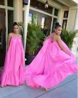 Womens Sexy Sling Sleeveless Long Dress Party Gown Loose Swing Dresses Plus Size
