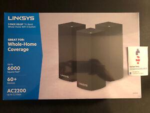Linksys Velop AC2200 Tri-Band Mesh Wi-Fi 5 System 3 Pack Black - WHW0303B
