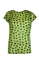 Womens Ladies Lime Green With Navy Heart Print Chiffon Cap Sleeve Top Blouse