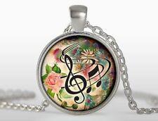 Cupola Vetro Cabochon Collana Con Ciondolo Pendente Catena Chiave Musicale Nota Chiave di Violino simbolo N247