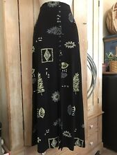 Women's Susan Lawrence Black Hawaii Ferns Long Maxi Skirt Suit Dress Outfits S/M